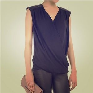 Helmut Lang Black Morse Drape Leather Trim Top